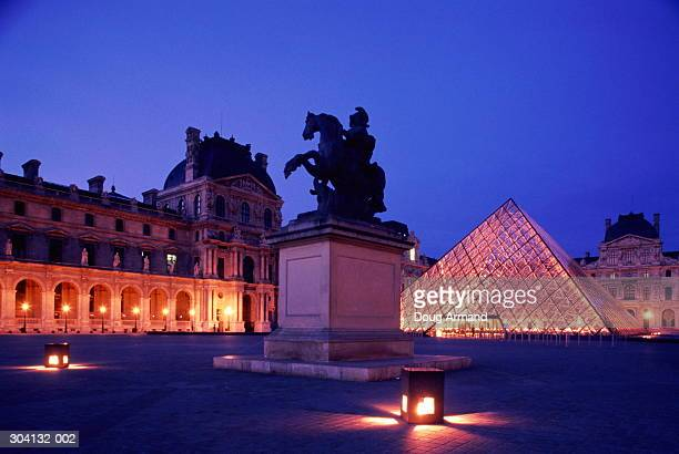 France, Paris, Palais du Louvre and Pyramid EDITORIAL USE ONLY