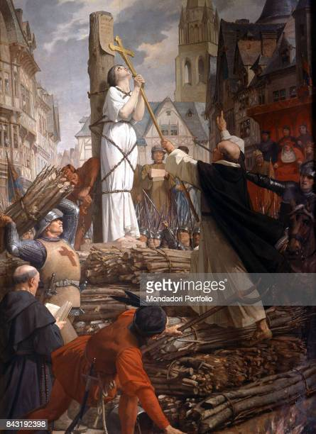 France Paris Pantheon Whole artwork view French heroin Jeanne of arc holding the crucifix while burning at stake in the the middle of the square