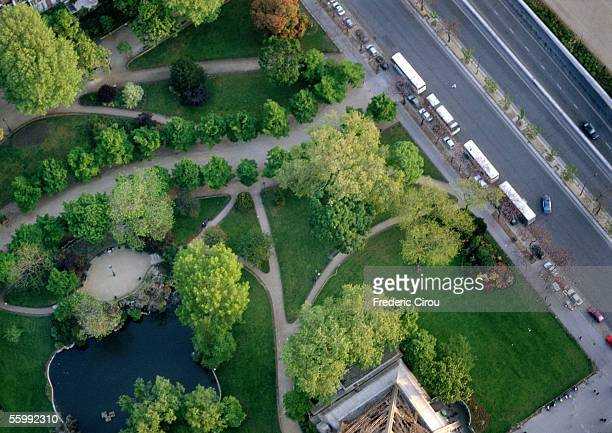 France, Paris, park and road, birdseye view.