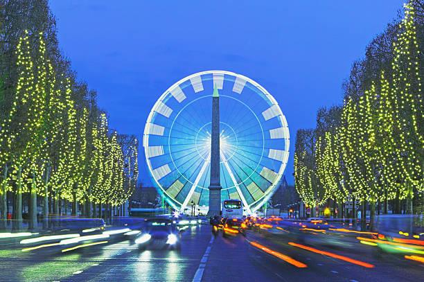 France, Paris, Place de la Concorde, big wheel (blurred motion), dusk
