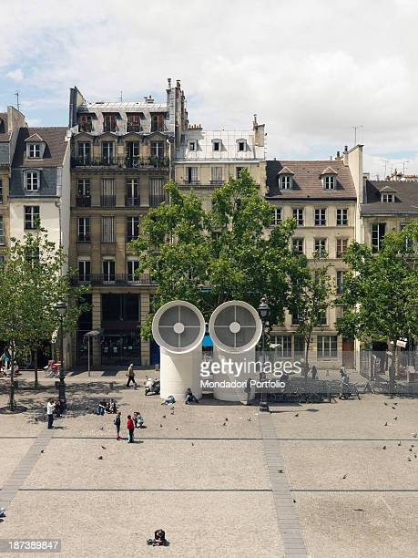 France, Paris, Place Pompidou, Detail, A foreshortening view of Pompidou square with its buildings and the two big siphons, part of the installations...