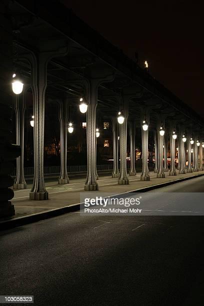 France, Paris, Pont Bir Hakeim bridge at night