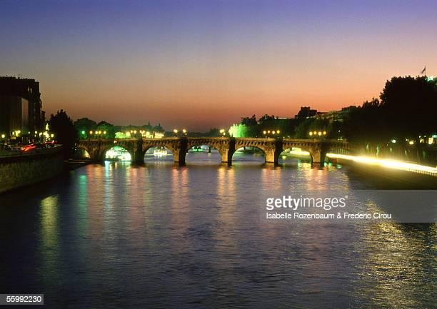 France, Paris, River Seine at dusk