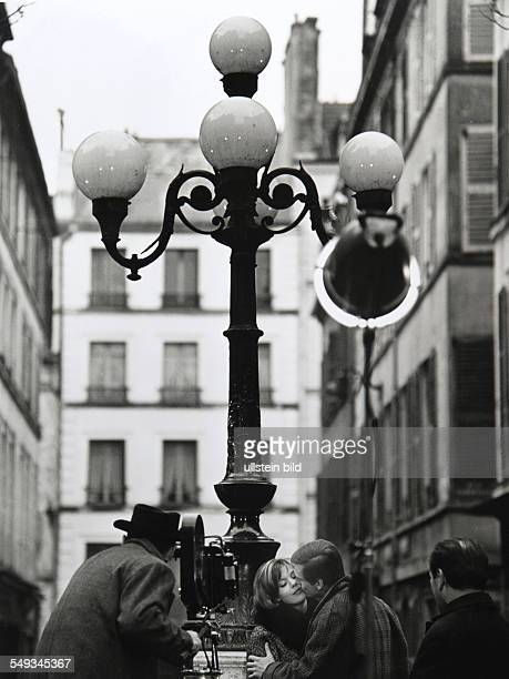 France Paris shooting of movie scene of kissing lovers under the candelabrum at Place Fuerstenberg