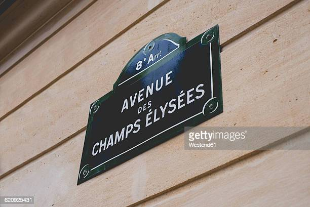 France, Paris, sign with street name Avenue des Champs Elysees