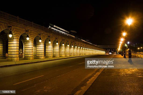 france, paris, street along the pont de bercy - paris night stock pictures, royalty-free photos & images