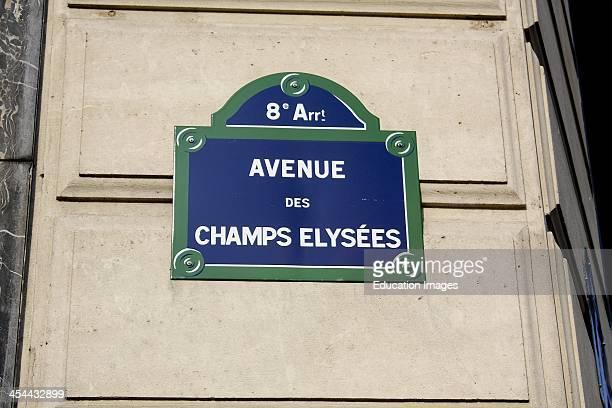 France Paris Street Sign Avenue Champs Elysees