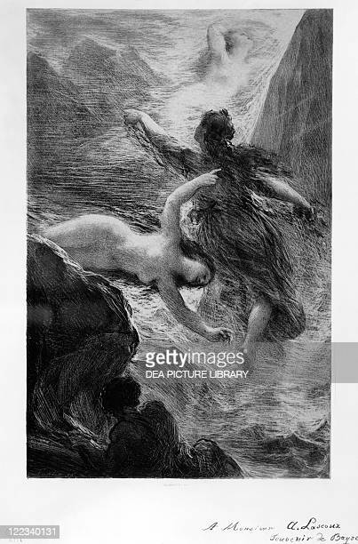 France Paris The daughters of the Rhine playing in the waters by Henri FantinLatour litograph inspired by The Ring of the Nibelung by Richard Wagner