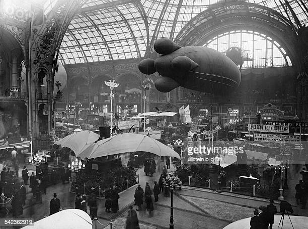 France; Paris; the First Aeronautic Exhibition, view of the exhibition hall at Grand Palais, 1908
