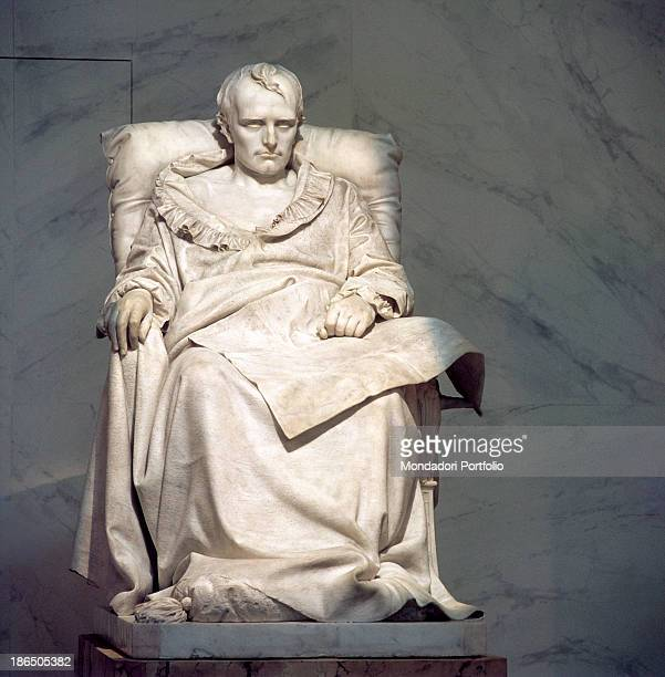 France Paris Versailles Whole artwork view Funerary monument depicting Napoleon dying sitting on a throne his legs covered by a long drape his robe...