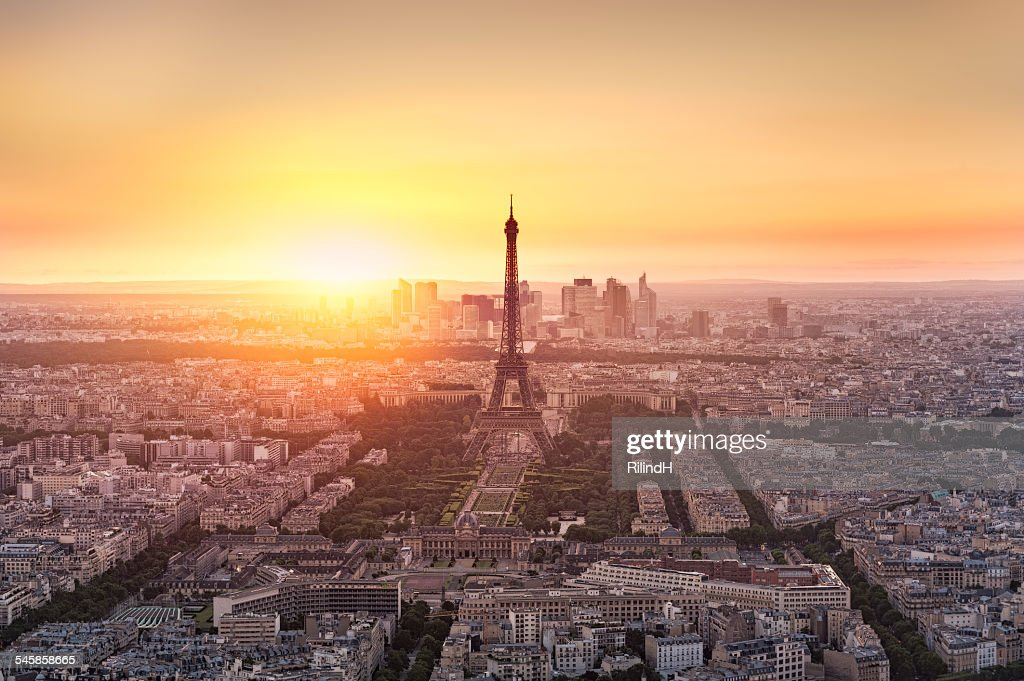 France, Paris, View of city from Montparnasse tower : Stock Photo