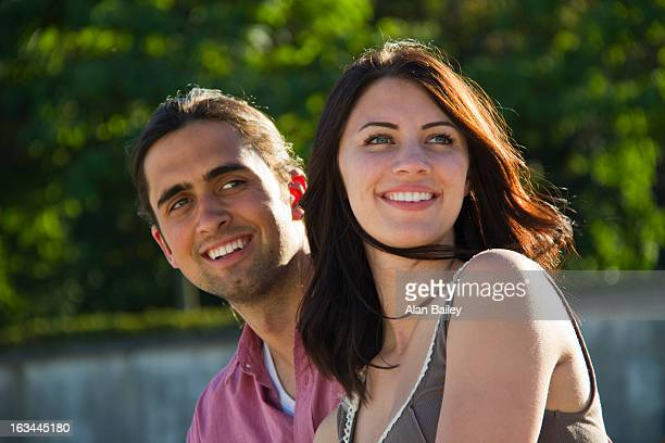france, paris, young couple looking away - esplanade du trocadero stock pictures, royalty-free photos & images