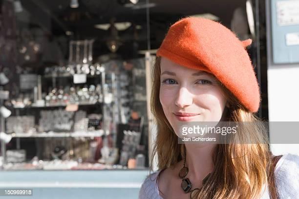 France, Pas-de-Calais, Escalles, Portrait of young woman in red beret