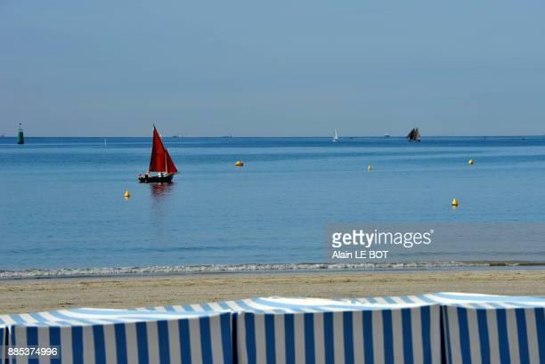 France, Pays de la Loire region, Loire-Atlantique department, beach and ships cruising in bay of La Baule.
