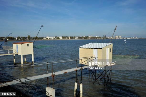France, Pays de la Loire region, Loire-Atlantique department, Saint-Nazaire city, flounder fisheries along the seafront.