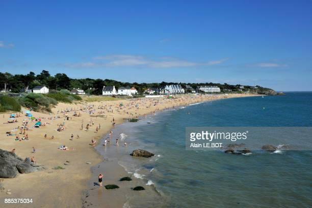 france, pays de la loire region, loire-atlantique department, pornichet city, beach of sainte-marguerite. - loire atlantique photos et images de collection