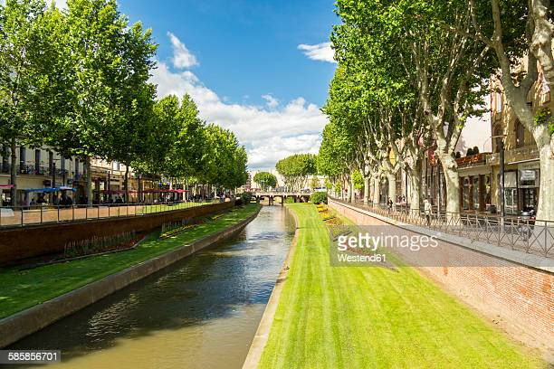 france, perpignan, city view - perpignan stock photos and pictures