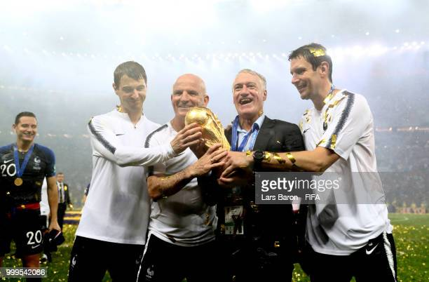 France Physical trainer Gregory Dupont, Didier Deschamps, Manager of France, France Assistant Coach Guy Stephan and goalkeepers' coach Franck Raviot...