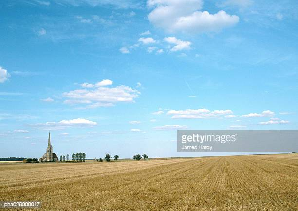 France, Picardy, field with trees and church in background.