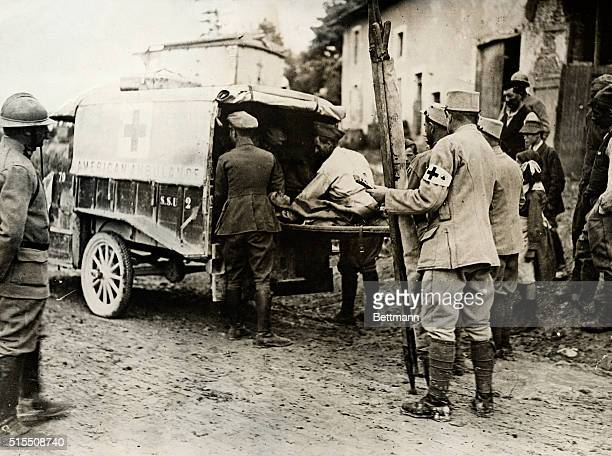 France Picture shows wounded being taken from cottages in the Verdun Sector to the Chateau Villa Lorraine France by the Red Cross BPA2# 5594