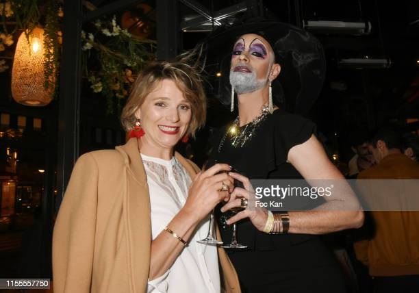 France Pierron from Equipe TV and Lady Carbone attends the Agence Anonyme Paris 10th Anniversary Party At Le Choupinet on June 12 2019 in Paris France