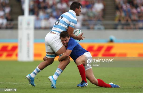 France player Antoine Dupont tackles Pablo Matera during the Rugby World Cup 2019 Group C game between France and Argentina at Tokyo Stadium on...