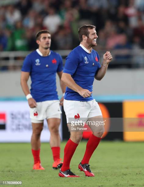 France player Camille Lopez celebrates after kicking the winning drop goal during the Rugby World Cup 2019 Group C game between France and Argentina...