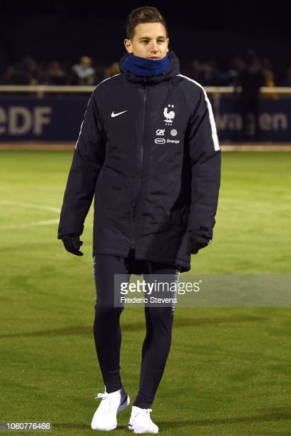 France player Florian Thauvin arrives to a training session at the French National Football Team Center in ClairefontaineenYvelines on November 12...