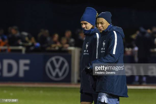 France Player Kylian Mbappe and Antoine Griezmann during a training session at the French National Football Centre as part of the preparation France...
