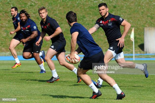 France player Mathieu Bastareaud, Jules Plisson, Alexandre Lapandry during a training session at National center of rugby, on May 9, 2018 in...