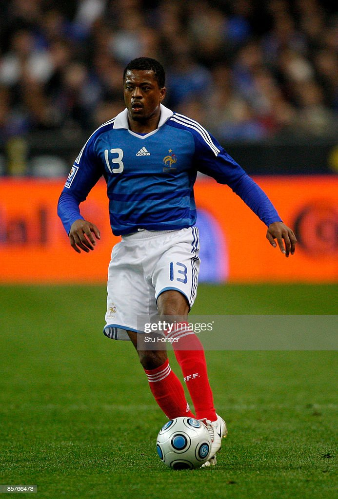 France player Patrice Evra in action during the group 7 FIFA2010 World Cup Qualifier between France and Lithuania at Saint Denis, Stade de France on April 1, 2009 in Paris, France.