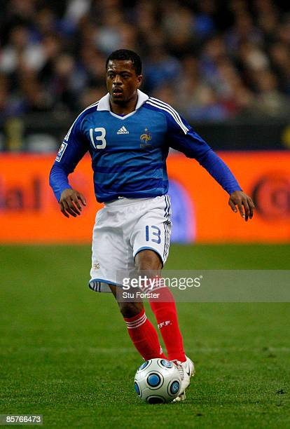 France player Patrice Evra in action during the group 7 FIFA2010 World Cup Qualifier between France and Lithuania at Saint Denis Stade de France on...