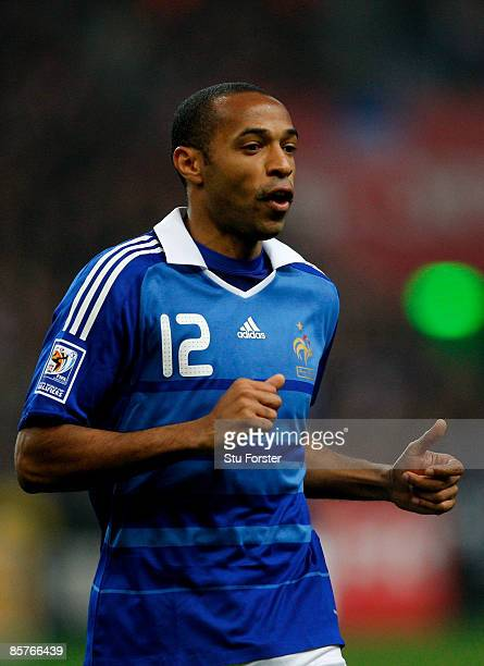 France player Thierry Henry in action during the group 7 FIFA2010 World Cup Qualifier between France and Lithuania at Saint Denis Stade de France on...