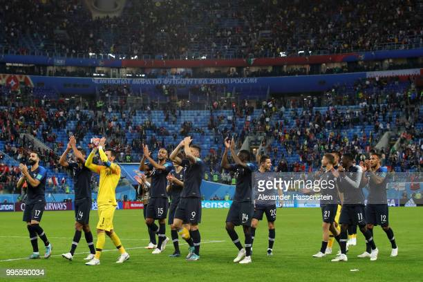 France players acknowledge the fans following the 2018 FIFA World Cup Russia Semi Final match between Belgium and France at Saint Petersburg Stadium...