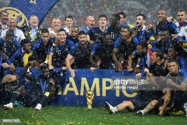 France players and staff celebrate with the World Cup trophy following the 2018 FIFA World Cup Final between France and Croatia at Luzhniki Stadium...