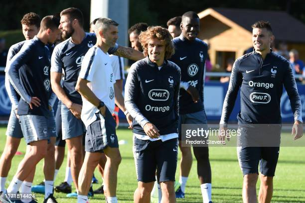 France players Antoine Griezmann and Lucas Hernandez during a training session at the French National Football Centre as part of the preparation to...