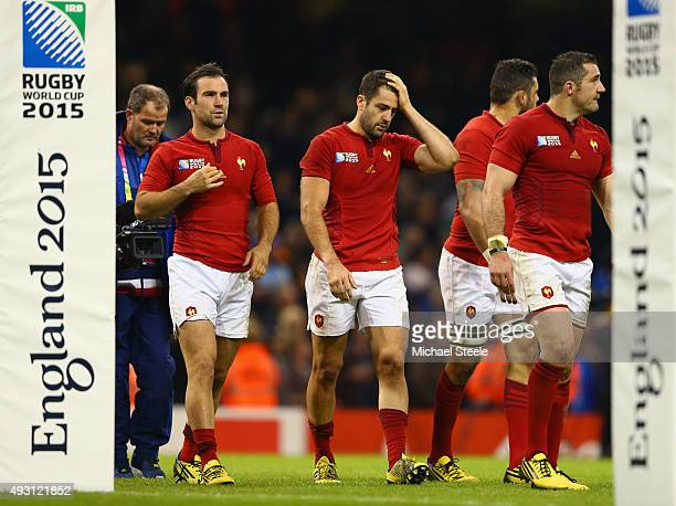 France players are dejected follwoig defeat in the 2015 Rugby World Cup Quarter Final match between New Zealand and France at the Millennium Stadium...