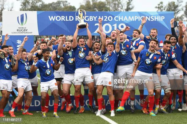 France players celebrate after winning the final match of World Rugby U20 Championship 2019 between Australia U20 and France U20 at Racecourse...