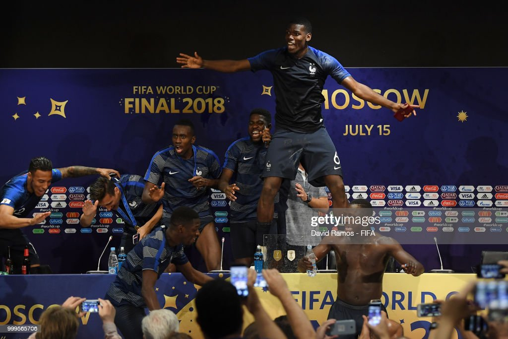 France players celebrate during the press conference after the 2018 FIFA World Cup Final between France and Croatia at Luzhniki Stadium on July 15, 2018 in Moscow, Russia.