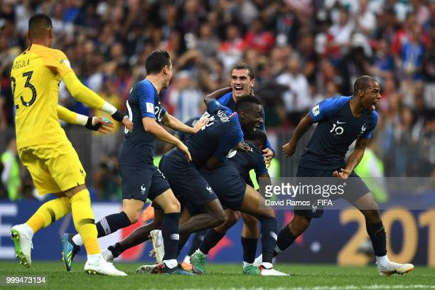 France players celebrate following their sides victory in the 2018 FIFA World Cup Final between France and Croatia at Luzhniki Stadium on July 15,...