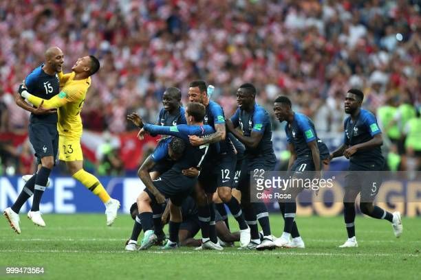 France players celebrate following their sides victory in the 2018 FIFA World Cup Final between France and Croatia at Luzhniki Stadium on July 15...