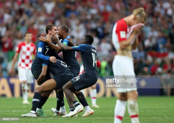 France players celebrate following their side's victory in the 2018 FIFA World Cup Final between France and Croatia at Luzhniki Stadium on July 15,...