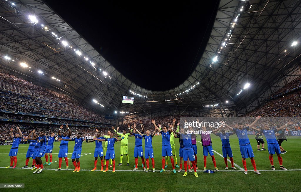 France players celebrate their team's 2-0 win in the UEFA EURO semi final match between Germany and France at Stade Velodrome on July 7, 2016 in Marseille, France.