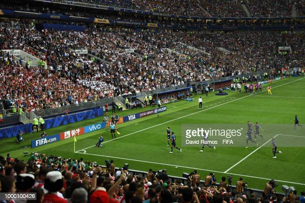 France players celebrate their team's first goal an own goal scored by Mario Mandzukic of Croatia followinf a free kick of Antoine Griezmann during...