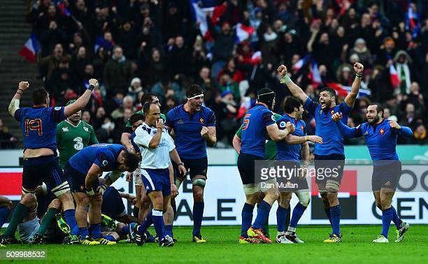 France players celebrate their victory as the final whistle blows during the RBS Six Nations match between France and Ireland at the Stade de France...
