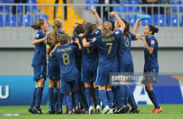 France players celebrate their victory at the final whistle of the FIFA U17 Women's World Cup 2012 SemiFinal match between France and Ghana at 8KM...