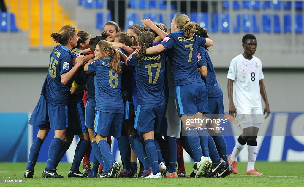 France players celebrate their victory at the final whistle of the FIFA U-17 Women's World Cup 2012 Semi-Final match between France and Ghana at 8KM Stadium on October 9, 2012 in Baku, Azerbaijan.