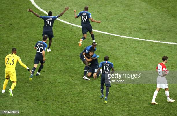 France players celebrate their victory following the 2018 FIFA World Cup Final between France and Croatia at Luzhniki Stadium on July 15, 2018 in...