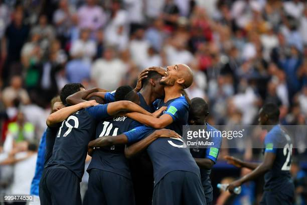 France players celebrate their victory following the 2018 FIFA World Cup Final between France and Croatia at Luzhniki Stadium on July 15 2018 in...