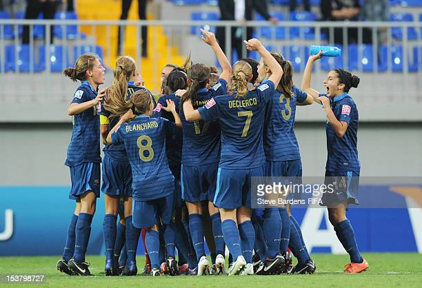 France players celebrate victory at the final whistle of the FIFA U17 Women's World Cup 2012 SemiFinal match between France and Ghana at 8KM Stadium...